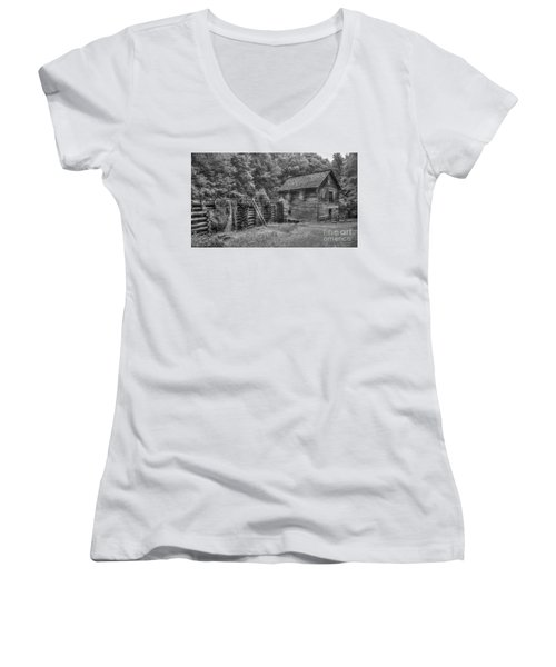 Women's V-Neck T-Shirt (Junior Cut) featuring the photograph Mingus Mill Black And White Mingus Creek Great Smoky Mountains Art by Reid Callaway