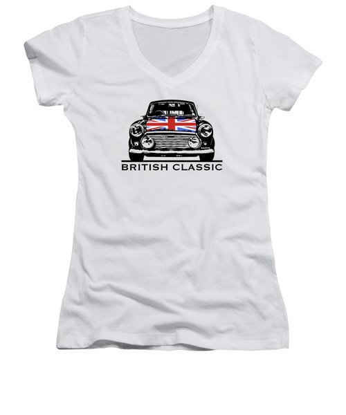 Mini British Classic Women's V-Neck T-Shirt (Junior Cut) by Thomas M Pikolin