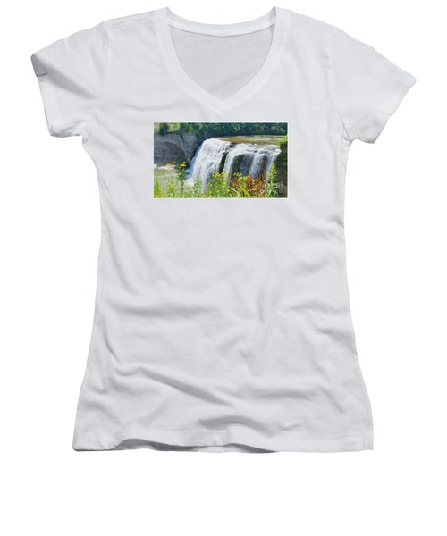 Women's V-Neck T-Shirt (Junior Cut) featuring the photograph Mini Falls by Raymond Earley