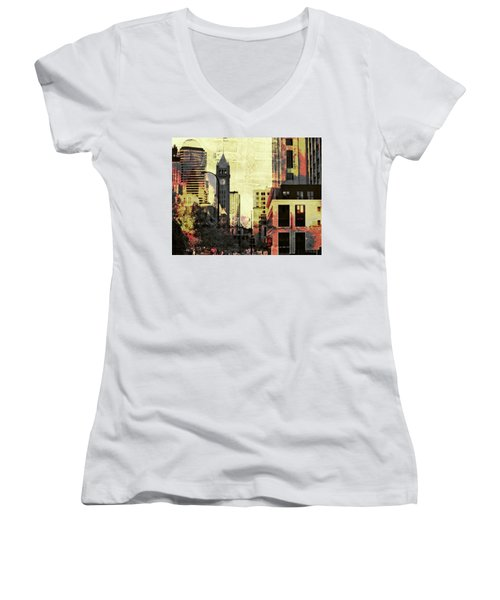 Minneapolis Clock Tower Women's V-Neck (Athletic Fit)