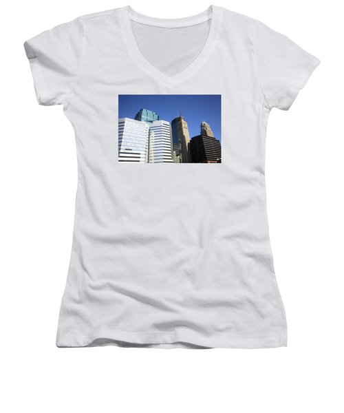 Women's V-Neck T-Shirt (Junior Cut) featuring the photograph Minneapolis Skyscrapers 11 by Frank Romeo