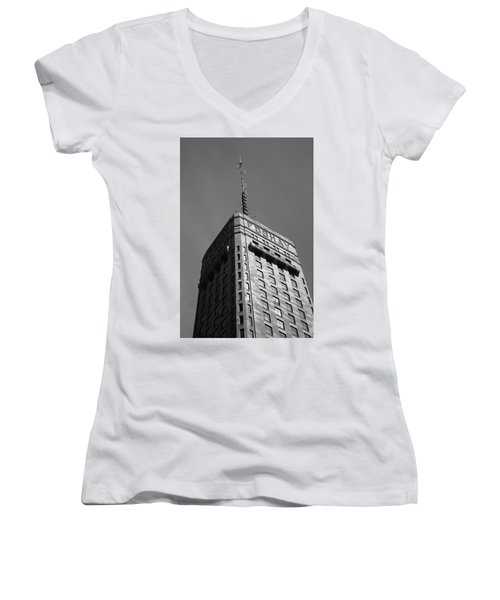 Women's V-Neck T-Shirt (Junior Cut) featuring the photograph Minneapolis Tower 6 Bw by Frank Romeo