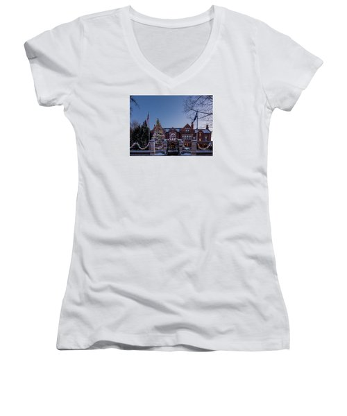 Christmas Lights Series #6 - Minnesota Governor's Mansion Women's V-Neck (Athletic Fit)