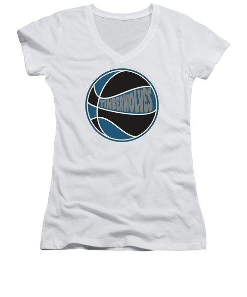 Women's V-Neck T-Shirt (Junior Cut) featuring the photograph Minnesota Timberwolves Retro Shirt by Joe Hamilton