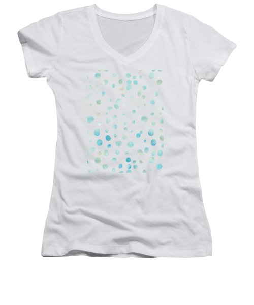 Mint Blue Watercolor Confetti Dots Women's V-Neck T-Shirt (Junior Cut) by P S