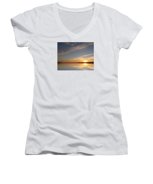 Women's V-Neck T-Shirt (Junior Cut) featuring the photograph Mirror Lake Sunrise  by Lyle Crump