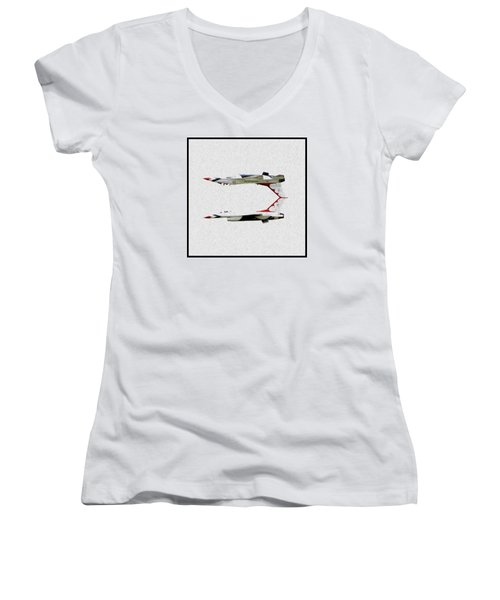 Mirrored Image Women's V-Neck T-Shirt (Junior Cut) by John Freidenberg