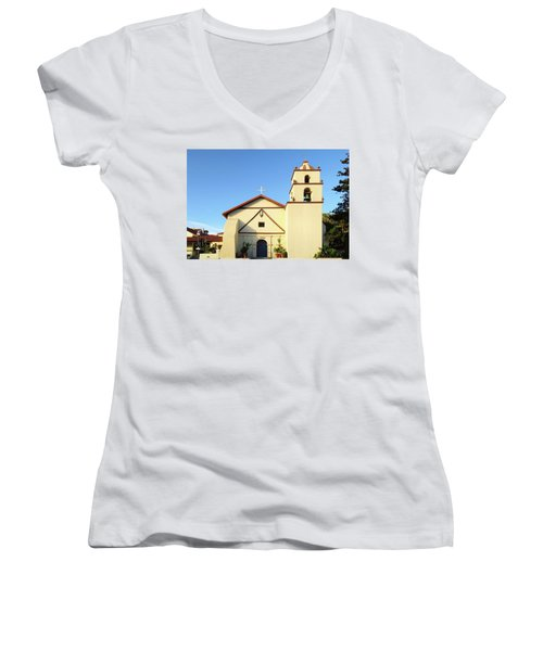 Mission San Buenaventura, Ventura, California Women's V-Neck (Athletic Fit)