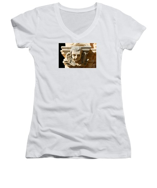 Women's V-Neck T-Shirt (Junior Cut) featuring the photograph Mission San Jose Angel by Jeanette French
