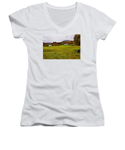 Misty Autumn At The Farm Women's V-Neck