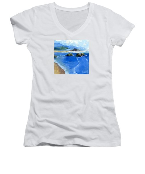 Misty Bodega Bay Women's V-Neck T-Shirt (Junior Cut) by Randy Sprout