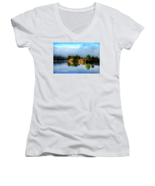 Misty Fall Colors On The River Women's V-Neck T-Shirt