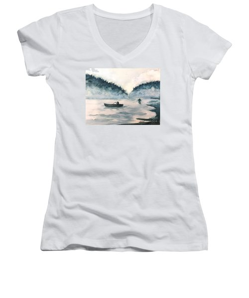 Misty Lake Women's V-Neck T-Shirt (Junior Cut) by Lucia Grilletto