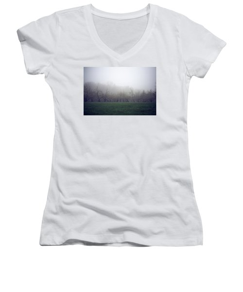 Women's V-Neck featuring the photograph Misty Mood by Brian Hale