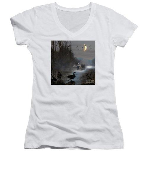 Misty Moonlight Women's V-Neck T-Shirt (Junior Cut) by LemonArt Photography