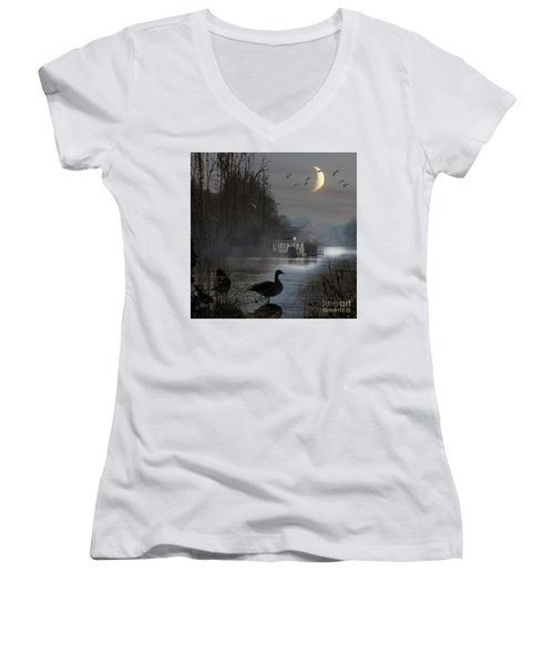 Misty Moonlight Women's V-Neck T-Shirt