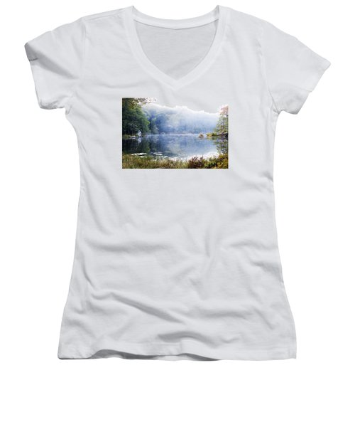 Women's V-Neck T-Shirt (Junior Cut) featuring the photograph Misty Morning At John Burroughs #1 by Jeff Severson