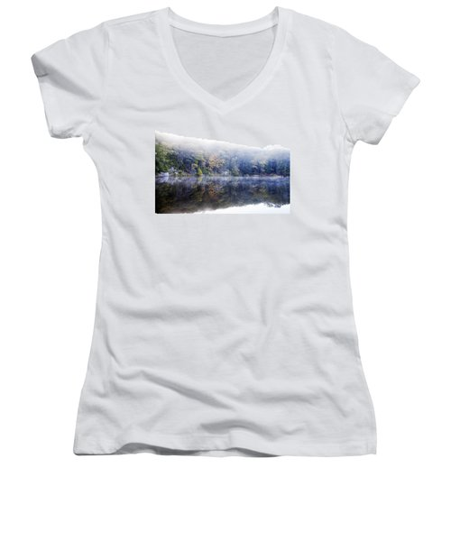 Women's V-Neck T-Shirt (Junior Cut) featuring the photograph Misty Morning At John Burroughs #2 by Jeff Severson