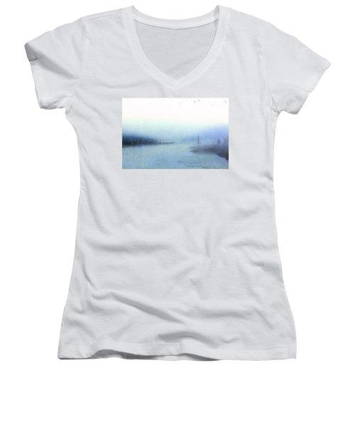 Misty Morning Women's V-Neck T-Shirt (Junior Cut) by Catherine Alfidi
