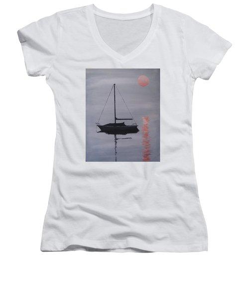 Misty Morning Mooring Women's V-Neck T-Shirt (Junior Cut) by Jack Skinner