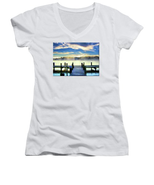 Women's V-Neck T-Shirt (Junior Cut) featuring the photograph Misty Morning On Rock Creek by Brian Wallace