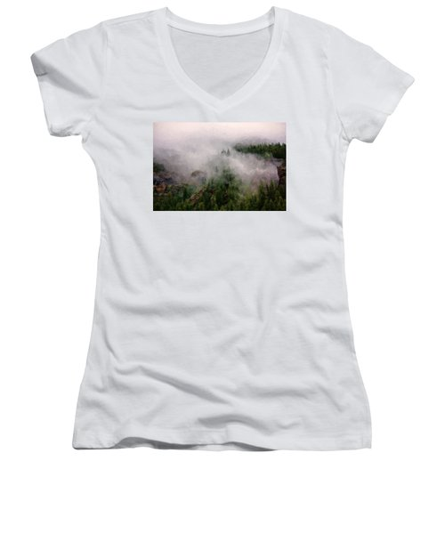 Women's V-Neck T-Shirt (Junior Cut) featuring the photograph Misty Pines by Lana Trussell