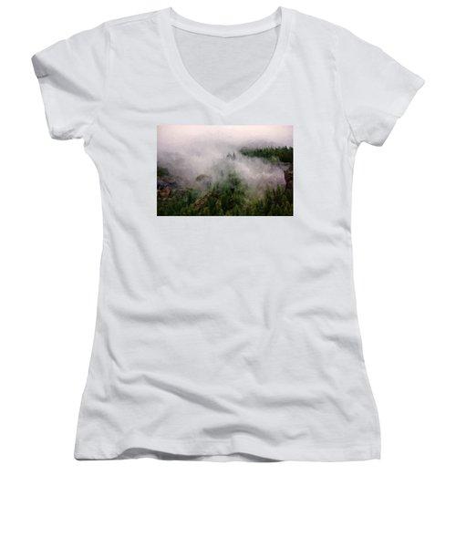 Misty Pines Women's V-Neck T-Shirt (Junior Cut) by Lana Trussell