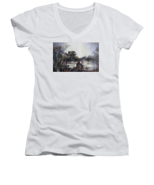 Women's V-Neck T-Shirt (Junior Cut) featuring the painting Misty Pond by Geni Gorani