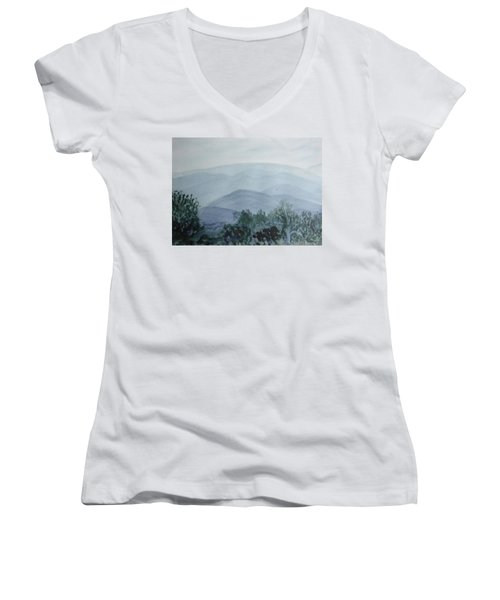 Misty Shenandoah Women's V-Neck T-Shirt (Junior Cut) by Donna Walsh
