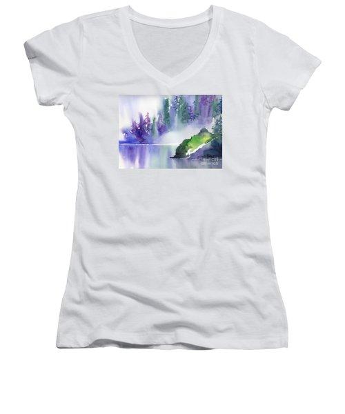 Misty Summer Women's V-Neck T-Shirt (Junior Cut) by Yolanda Koh