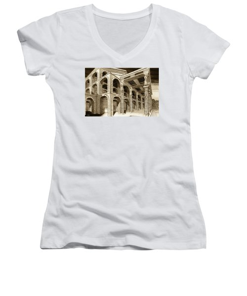 Mithlond Gray Havens Women's V-Neck T-Shirt (Junior Cut) by Curtiss Shaffer