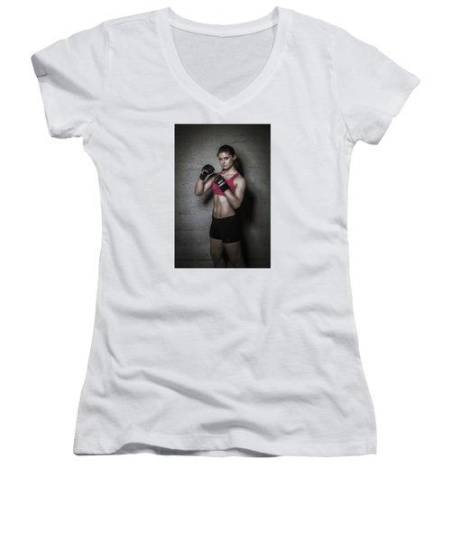 Mma Fighter Women's V-Neck T-Shirt (Junior Cut) by Scott Meyer