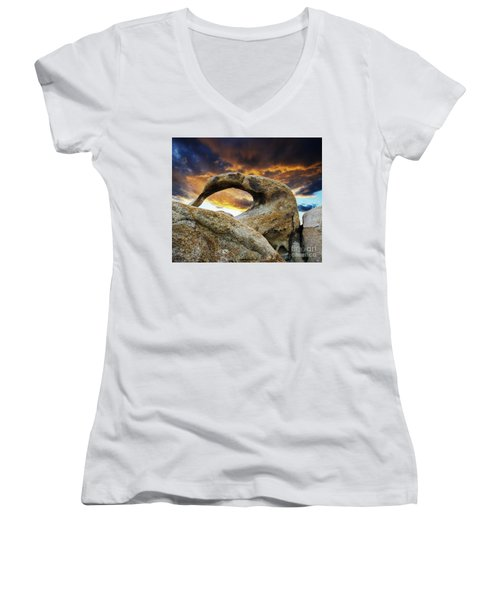 Women's V-Neck T-Shirt (Junior Cut) featuring the photograph Mobious Arch California 7 by Bob Christopher