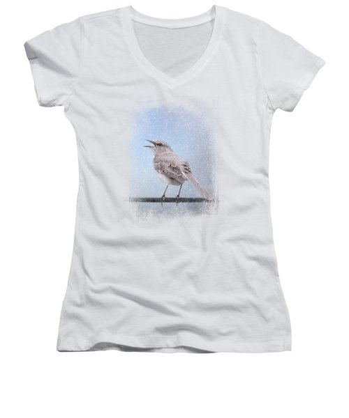 Mockingbird In The Snow Women's V-Neck T-Shirt (Junior Cut) by Jai Johnson
