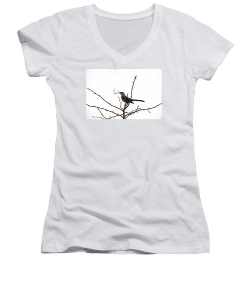 Mockingbird With Twig Women's V-Neck (Athletic Fit)