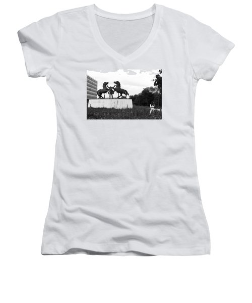 Model And The Monument Women's V-Neck T-Shirt (Junior Cut) by Lorraine Devon Wilke