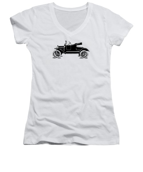 Model T Roadster Pop Art Black Women's V-Neck (Athletic Fit)