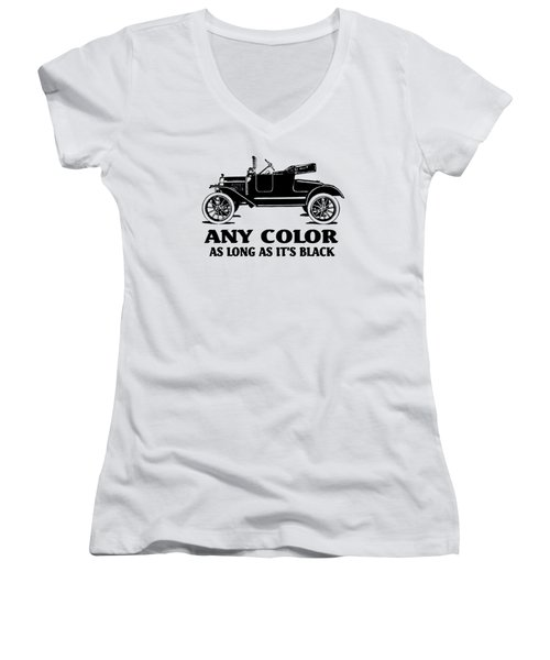 Model T Roadster Pop Art Black Slogan Women's V-Neck (Athletic Fit)