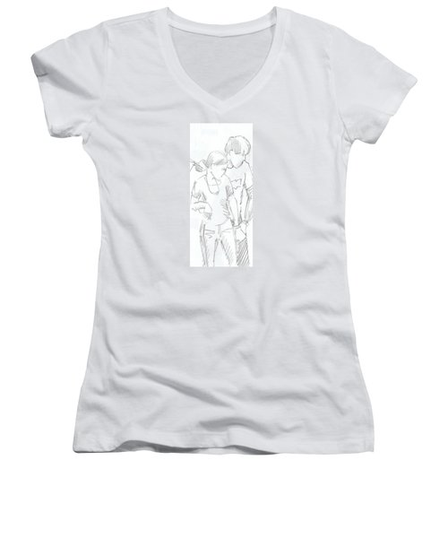 Modern Jive Ceroc Dancing Couple Pencil Drawing Women's V-Neck