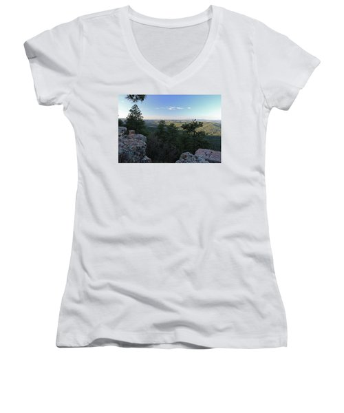 Women's V-Neck T-Shirt (Junior Cut) featuring the photograph Mogollon Morning by Gary Kaylor