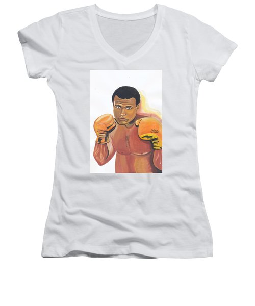 Women's V-Neck T-Shirt (Junior Cut) featuring the painting Mohammed Ali by Emmanuel Baliyanga