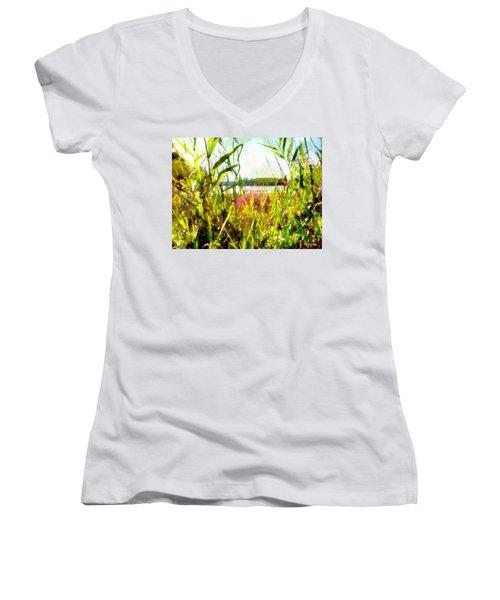 Women's V-Neck T-Shirt featuring the painting Mohegan Lake In The Brush by Derek Gedney