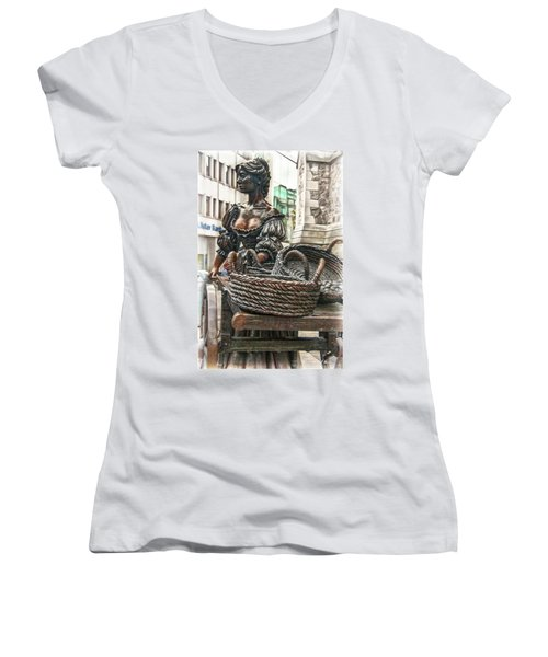 Women's V-Neck T-Shirt featuring the photograph Molly Malone by Hanny Heim