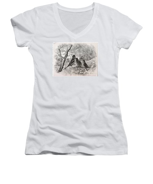 Mom, I Am Hungry Women's V-Neck T-Shirt (Junior Cut) by Debby Pueschel
