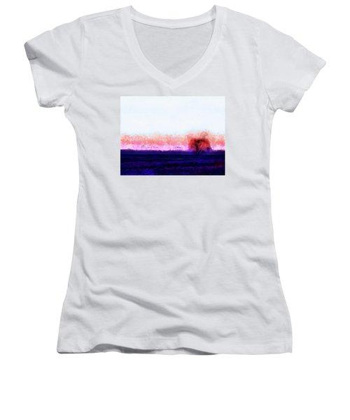 Moment In Blue Horizon Tree Women's V-Neck T-Shirt (Junior Cut) by Cedric Hampton