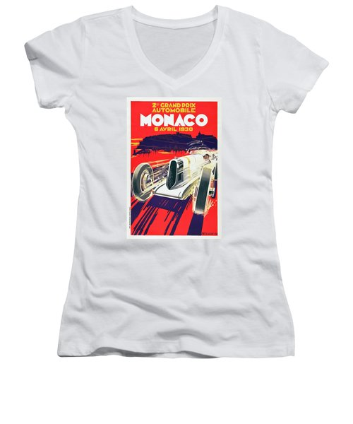 Monaco Grand Prix 1930 Women's V-Neck T-Shirt (Junior Cut) by Taylan Apukovska