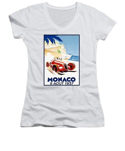 Monaco Grand Prix 1937 Women's V-Neck
