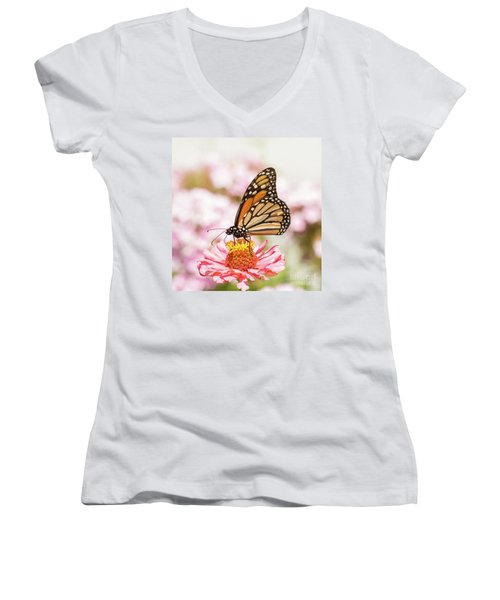 Monarch Butterfly On Pink Women's V-Neck T-Shirt