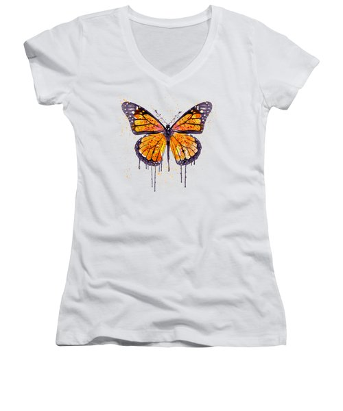 Monarch Butterfly Watercolor Women's V-Neck T-Shirt (Junior Cut) by Marian Voicu