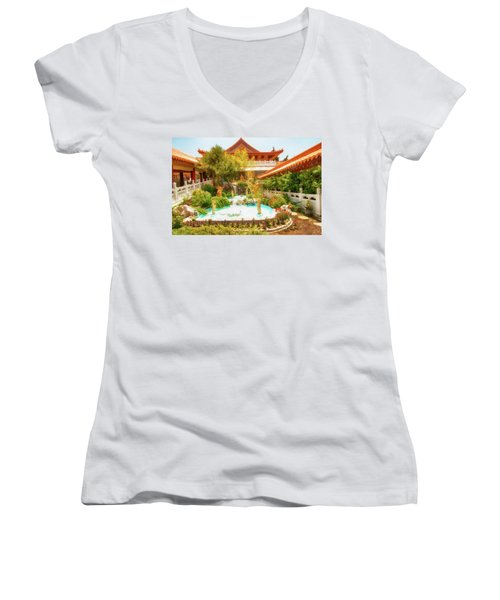 Women's V-Neck T-Shirt (Junior Cut) featuring the photograph Monastery by Joseph Hollingsworth